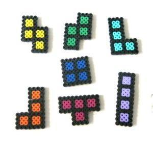 Perler Beads set of 7 Tetris Shapes Magnets